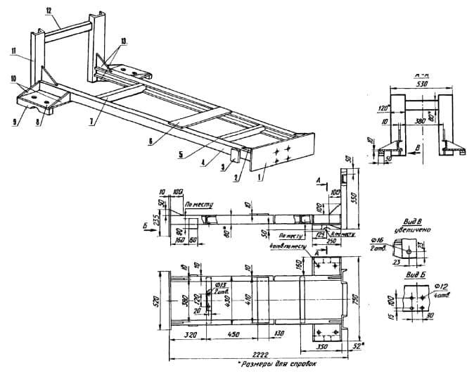 Самодельный квадроцикл с двигателем от мотоблока - чертеж