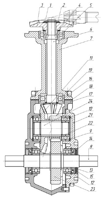 Схема углового редуктора мотоблока Каскад
