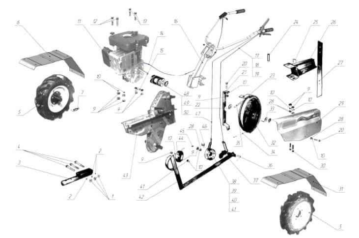 Дизельный мотоблок Варяг: схема деталей
